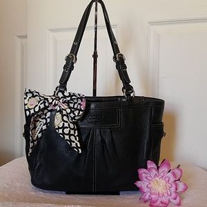 Pleated Pebbled Leather Gallery Tote